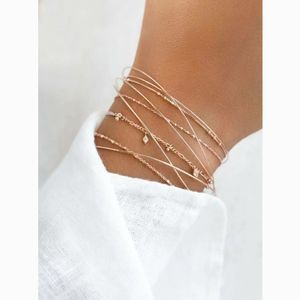 Simple Dainty Gold Delicate Layered Bracelet Set